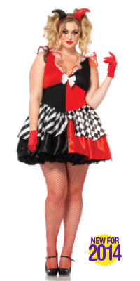 2X 4X Plus Size Harley Quinn Costume