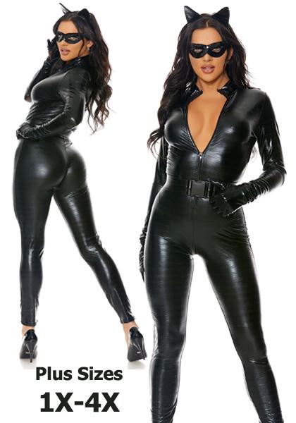 1X-4X Plus Size Fierce Feline Catwoman Costume
